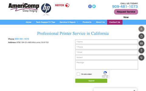 Screenshot of Contact Page americompgroup.com - Professional Printer Service | Alta Loma, CA | Americomp Group - captured Oct. 3, 2018