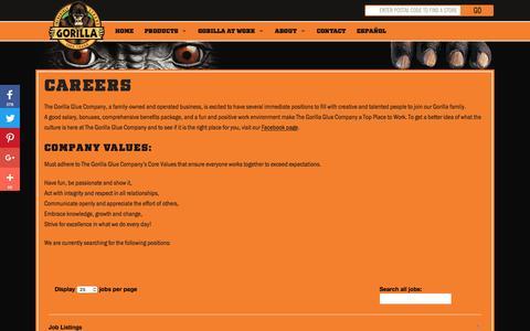 Screenshot of Jobs Page gorillatough.com - The Gorilla Glue Company   Careers   Work for Gorilla Glue   Values - captured Feb. 19, 2017