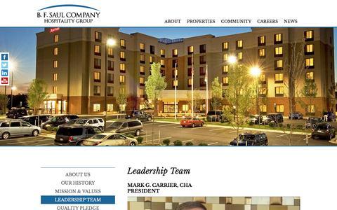 Screenshot of Team Page bfsaulhotels.com - Leadership Team | B. F. Saul Company Hospitality Group - captured Jan. 27, 2016