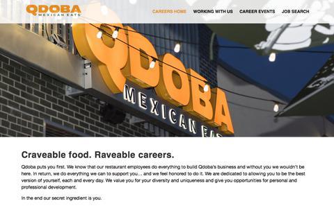 Screenshot of Jobs Page qdoba.com - Qdoba Careers – Home Page - captured Sept. 22, 2018