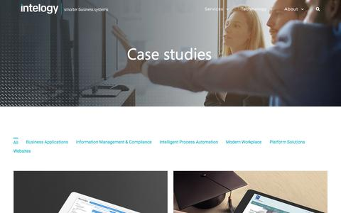Screenshot of Case Studies Page intelogy.co.uk - Case Studies | Intelogy - captured May 11, 2018