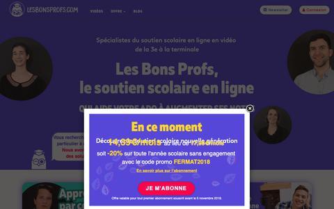 Screenshot of Home Page lesbonsprofs.com - Lesbonsprofs.com: le soutien scolaire en ligne et en vidéo pour votre ado - captured Nov. 4, 2018