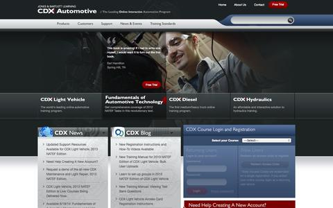 Screenshot of Home Page cdxauto.com - CDX Online Automotive Training | Light Vehicle, Bus, Diesel - captured Oct. 4, 2014