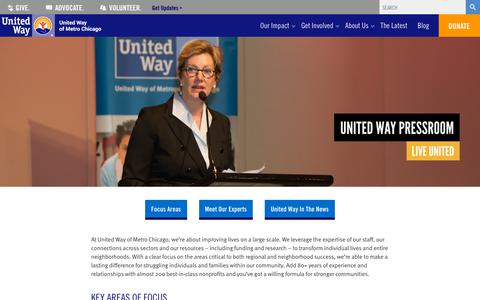 Screenshot of Press Page uw-mc.org - Pressroom - United Way of Metro Chicago - captured Oct. 19, 2018