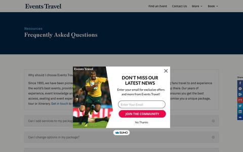 Screenshot of FAQ Page events.com.au - FAQ   Events Travel —Helping fans travel to global sports and events - captured Sept. 29, 2018