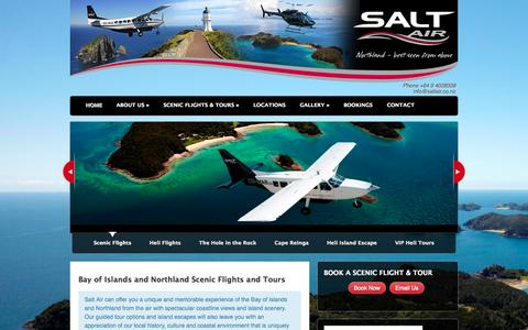 Screenshot of Home Page saltair.co.nz - Bay of Islands Helicopter & Aeroplane Scenic Flights, Northland NZ - captured Sept. 30, 2014