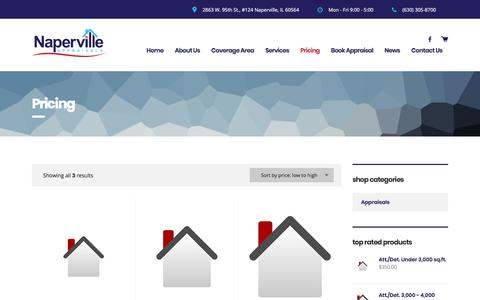 Screenshot of Pricing Page napervilleappraisals.com - Products Archive — Naperville Appraisals - captured Nov. 3, 2017