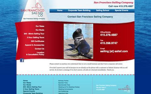 Screenshot of Contact Page sailsf.com - Contact Us :: The San Francisco Sailing Company - captured Oct. 3, 2014