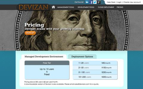 Screenshot of Pricing Page devizan.com - Devizan Pricing - Devizan, Inc. - captured Oct. 5, 2014