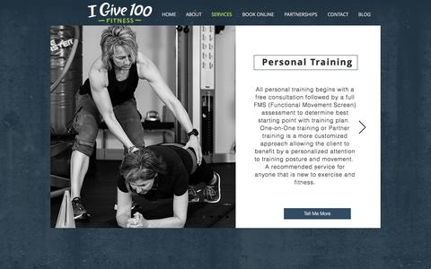 Screenshot of Services Page igive100.com - Personal Training | Madison WI | iGive100 Fitness - captured Oct. 14, 2017