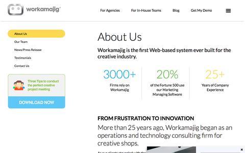 Screenshot of About Page workamajig.com - About Workamajig   Creative Project Management Software - captured Nov. 6, 2017