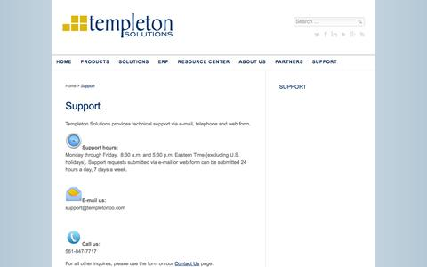 Screenshot of Support Page templetonsolutions.com - Support - Templeton Solutions - captured Oct. 7, 2014