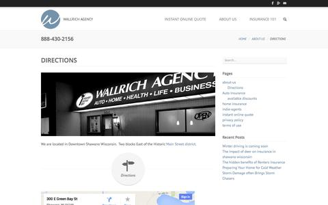 Screenshot of Maps & Directions Page wallrich.com - Directions to our office in Shawano Wisconsin -Wallrich Insurance Agency - captured Oct. 27, 2014