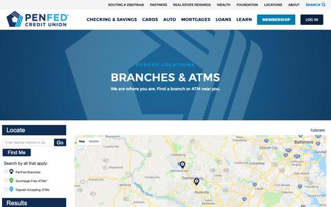 Screenshot of Locations Page penfed.org - Find PenFed Branches and ATM Locations - captured Oct. 12, 2018