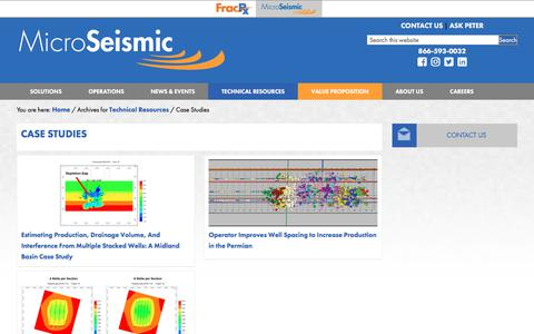 Screenshot of Case Studies Page microseismic.com - Case Studies Archives - Microseismic - captured Oct. 17, 2019