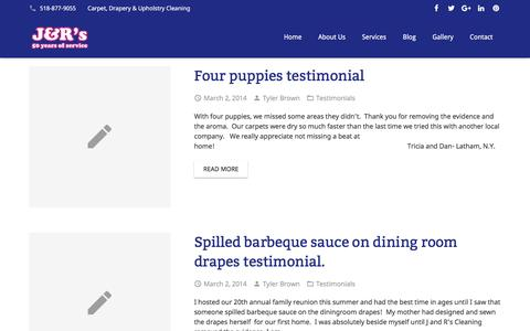 Screenshot of Testimonials Page jandrscarpetcleaning.com - Testimonials Archives - J&R Carpet Cleaning - captured July 20, 2016
