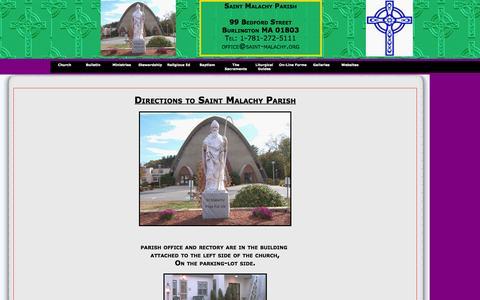 Screenshot of Maps & Directions Page saint-malachy.org - Saint Malachy Church, Burlington MA - captured March 11, 2016