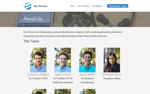 Screenshot of About Page ekodevices.com - About Us | Eko Devices » The Worlds Most Intelligent Stethoscope - captured July 19, 2014