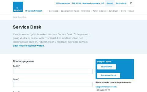 Screenshot of Support Page savaco.com - Service Desk -  Savaco - captured Sept. 25, 2017