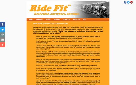 Screenshot of Testimonials Page ride-fit.com - Hear What Customers Think Of Ride Fit's Virtual Indoor Cycle Training Videos - captured Aug. 17, 2016