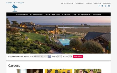 Screenshot of Jobs Page bodegabaylodge.com - Sonoma County Jobs | Hotels Bodega Bay California - captured Oct. 1, 2015