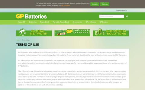Screenshot of Terms Page gpbatteries.com - GP Batteries International- Terms of Use - captured Dec. 13, 2018