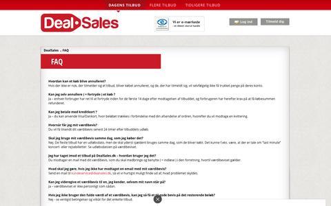 Screenshot of FAQ Page dealsales.dk - FAQ - captured Feb. 8, 2016