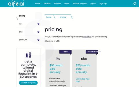 Screenshot of Pricing Page aife.ai - AÍFE.AI: Pricing - captured Oct. 24, 2018