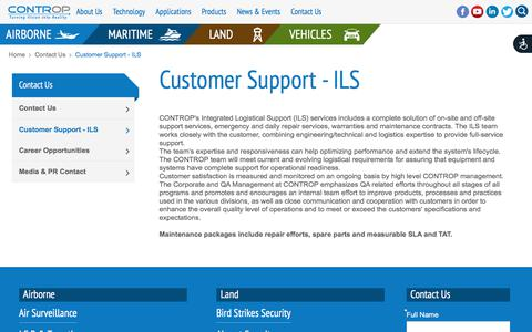 Screenshot of Support Page controp.com - CONTROP - Customer Support - ILS - captured July 21, 2019