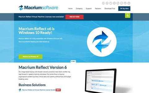 Screenshot of Home Page macrium.com - Macrium Software - captured Oct. 7, 2015