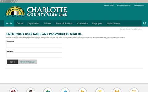 Screenshot of Login Page yourcharlotteschools.net - Sign In - captured Oct. 27, 2018