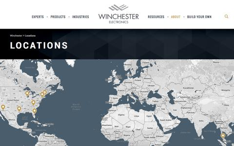 Screenshot of Locations Page winchesterelectronics.com - Locations - Winchester - captured Aug. 18, 2016