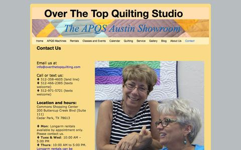 Screenshot of Contact Page overthetopquilting.com - Contact Us | Over The Top Quilting Studio - captured Feb. 15, 2016