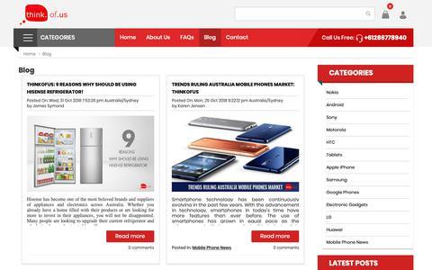 Screenshot of Blog thinkofus.com.au - Blog - Read the Latest Topics on Mobile phones & Smartphones - Think of Us - captured Nov. 7, 2018