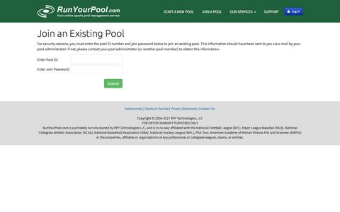 Screenshot of Signup Page runyourpool.com - Run your Football, March Madness, Baseball, Golf, and other pools at RunYourPool.com - captured June 24, 2017