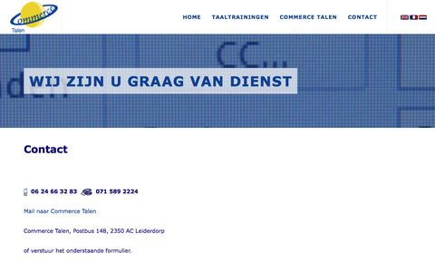 Screenshot of Contact Page commercetalen.nl - Commerce Talen   Taaltraining zakelijk Engels, Duits, Frans, Spaans, Nederlands - Contact, commerce, talen - captured May 20, 2017