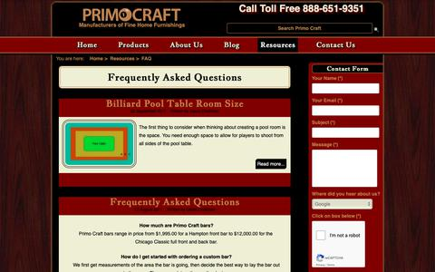 Screenshot of FAQ Page primocraft.com - Frequently Asked Questions - Primo Craft - captured Dec. 16, 2018