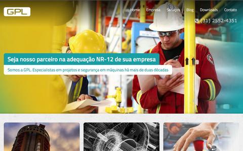 Screenshot of Home Page gplpm.com.br - Adequação NR-12, Projetos mecânicos, Projetos industriais, Turn-key - Belo Horizonte - GPL - captured Jan. 24, 2016