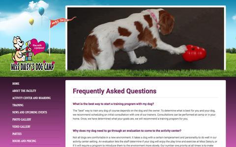 Screenshot of FAQ Page missdaisys.com - Miss Daisy's Dog Camp - captured June 17, 2016