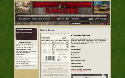 Screenshot of Support Page flamesofwar.com - Customer Service - captured Nov. 4, 2014
