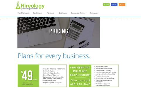 Screenshot of Pricing Page hireology.com - Pricing | Hiring Software | Hireology - captured Sept. 16, 2014