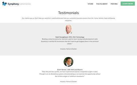 Screenshot of Testimonials Page symphonycommerce.com - Testimonials   Symphony Commerce - captured July 3, 2015