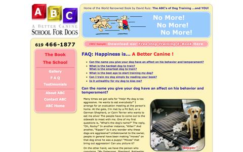 Screenshot of FAQ Page dogtrainingbook.com - Dog Training Advice and Tips: FAQ about Dog Obedience Training - captured April 10, 2017