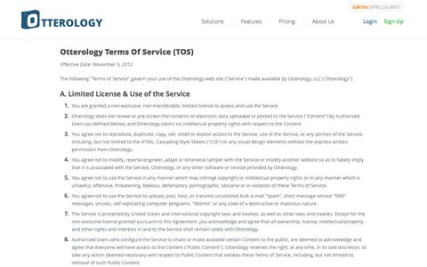 Screenshot of Terms Page otterology.com - Terms of Service :: Otterology Inventory Management - captured Sept. 17, 2014