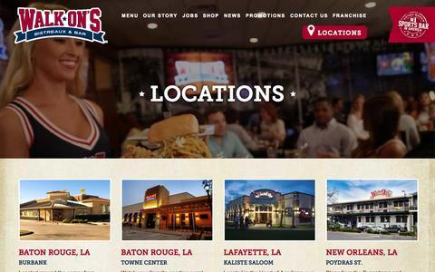 Screenshot of Locations Page walk-ons.com - Locations | Walk-On's Bistreaux & Bar - captured Nov. 20, 2015