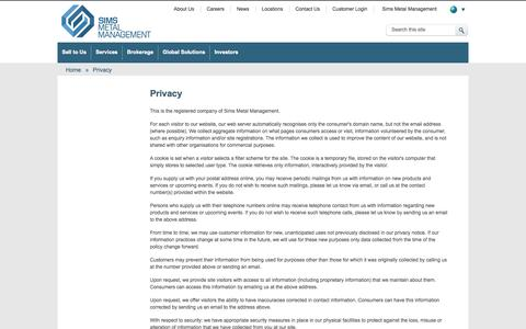 Screenshot of Privacy Page simsmm.com - Privacy | Sims Metal Management | Global Metals Recycling  | Sims Metal Management Global - captured Sept. 19, 2014
