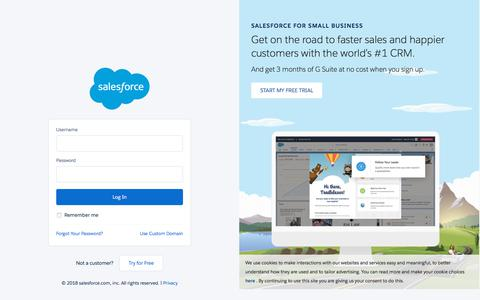 Screenshot of Login Page salesforce.com - Login | Salesforce - captured July 9, 2018