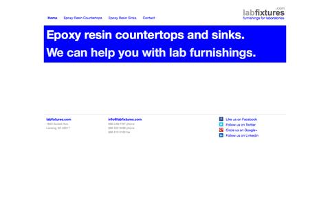 Screenshot of Home Page labfixtures.com - Furnishings for Laboratories | Epoxy Resin Countertops and Sinks | Labfixtures.com - captured Sept. 26, 2014