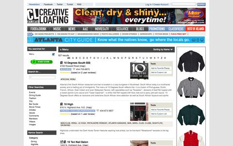 Screenshot of Menu Page clatl.com - Atlanta Businesses and Locations Search | Creative Loafing Atlanta - captured Sept. 19, 2014