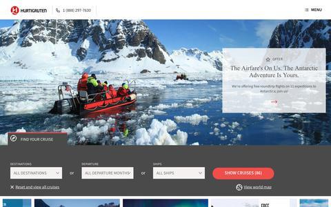 Screenshot of Home Page hurtigruten.com - Antarctica & Arctic Expeditions | Norway Coastal Cruises | Hurtigruten - captured July 24, 2018